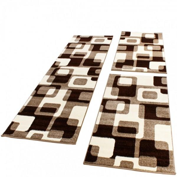 Läuferset mit Retro- Muster in Braun