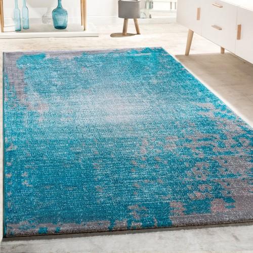 Designer Teppich Wohnzimmer Vintage Mit Splash Muster In Grau Türkis Meliert