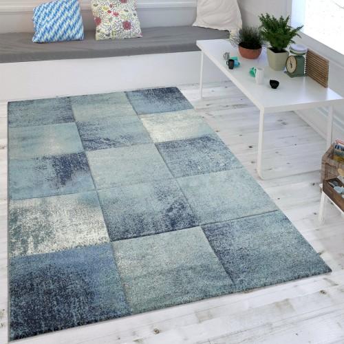 Wohnzimmer-Teppich Kurzflor Karo-Muster Meliert
