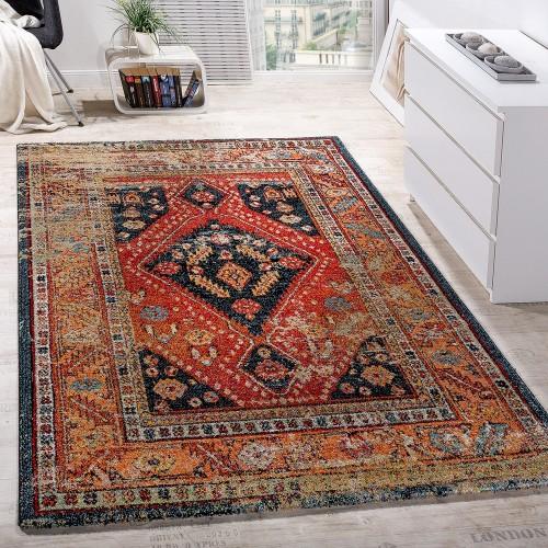 Designer Teppich Modern Kurzflor Orientalisch Design Schwarz Rot Türkis Beige