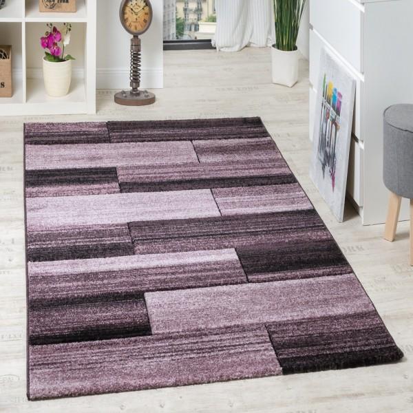 Designer Teppich Hochwertig Modern Rechteck Muster Meliert Fliedertöne Purple
