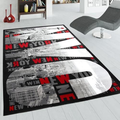Designer Teppich New York Grau Rot