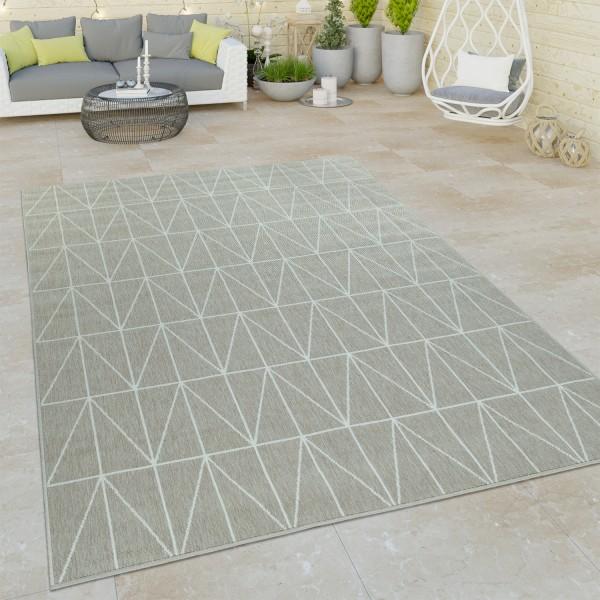 Outdoor Teppich 3-D Look Skandi Design Kurzflor