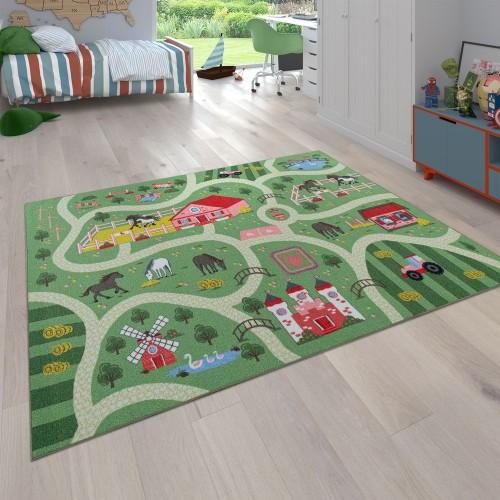 Spielteppich Kinderzimmer Straße Pferde Bauernhof
