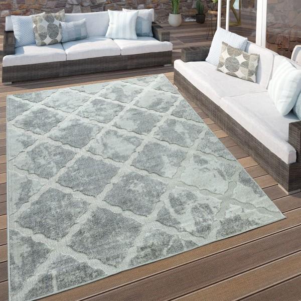 In- & Outdoor Terrassen Teppich Marmor Optik Rauten Muster In Grau