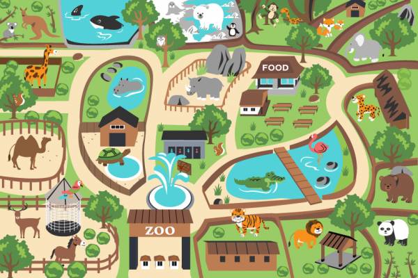 Kinderteppich Bunt Zoo Design Löwe Tiger Elefant Bär Affe Robust Weich