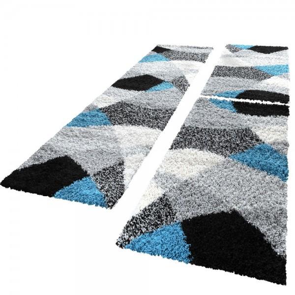 Läuferset Shaggy in Schwarz. Weiß, Grau und Türkis