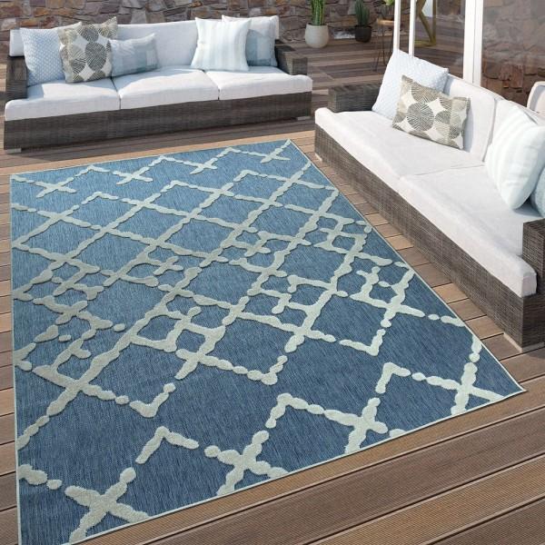 In- & Outdoor Terrassen Teppich Modernes Zick Zack Muster Blau Weiß