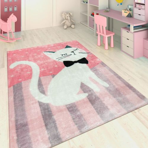 Handgetuftet Kinderteppich Katze Rosa