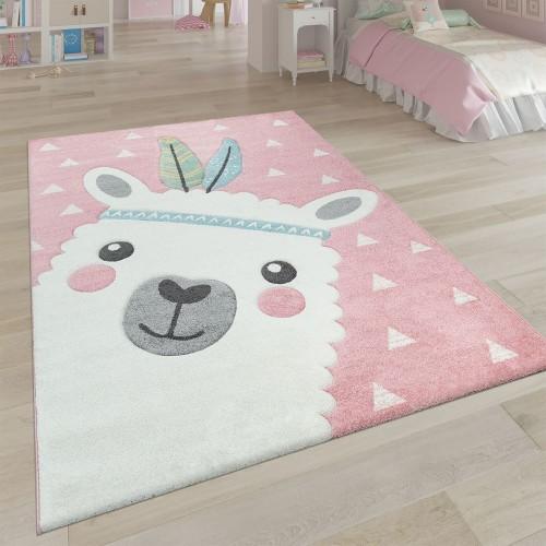 Kinderteppich Rosa Kinderzimmer 3-D Design Alpaka Motiv Pastellfarben Robust