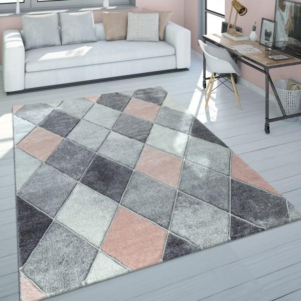 Kurzflor Teppich Wohnzimmer Pastell Rauten 3-D