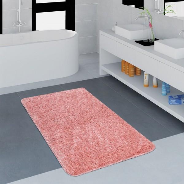 Moderner Badezimmer Teppich Einfarbig Microfaser Kuschelig Gemütlich In Rosa