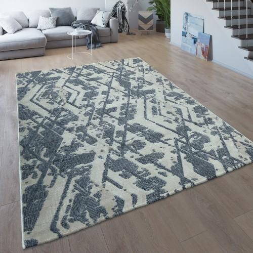Wohnzimmer-Teppich Kurzflor Rauten-Muster
