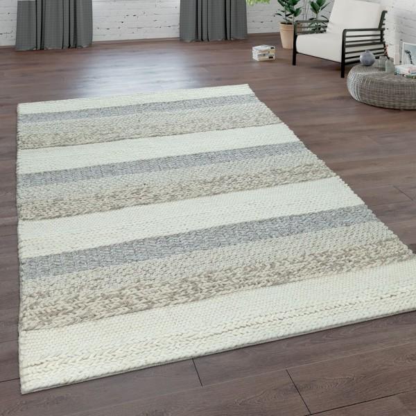 Teppich Handgeflochten Natur Wolle Streifen Muster
