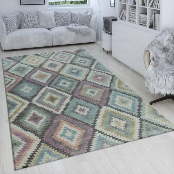 Teppich Rauten Muster Retro Design 3-D Pastell