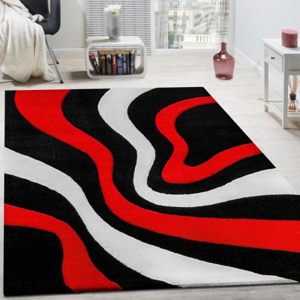 Teppich Modern Wohnzimmer Kurzflor Wellen Design Weiß Rot Schwarz AUSVERKAUF