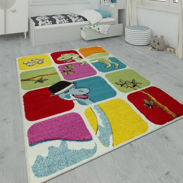 Kinderteppich Spielzimmer Dino Design Multicolor