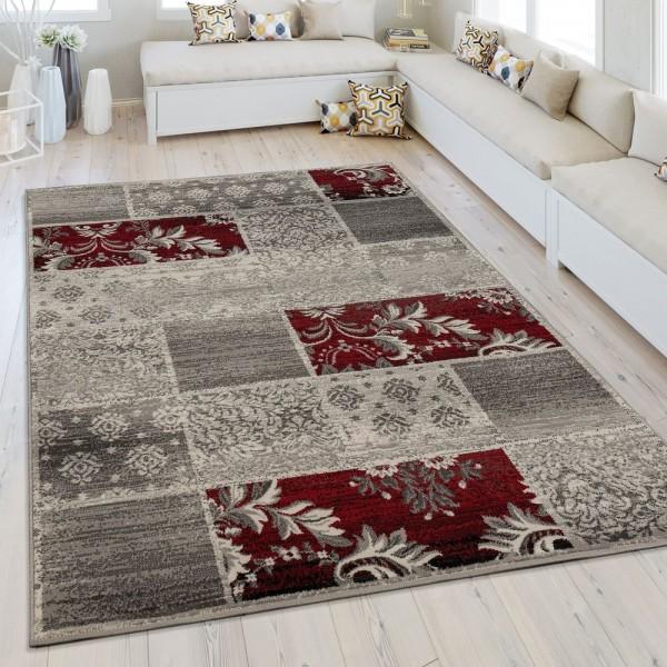 Moderner Kurzflorteppich Patchwork Design Grau Rot