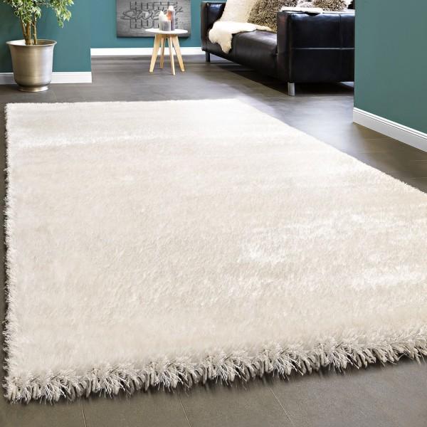 Edler Teppich Shaggy Hochflor Einfarbig Flauschig Glänzend In Weiß