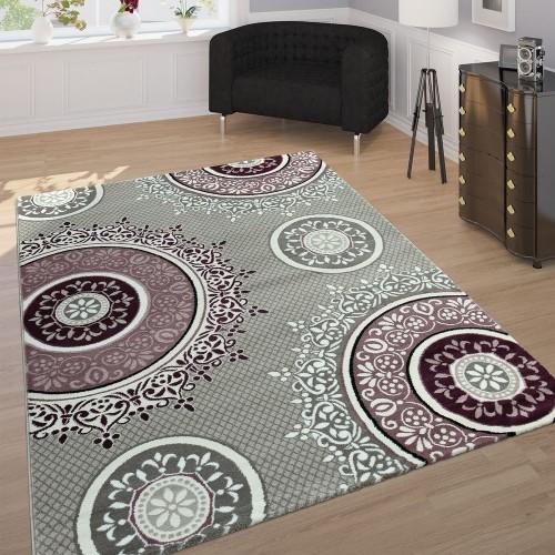 Edler Designer Teppich Mit Orient Muster Ornamente Mandala Grau Lila Weiß