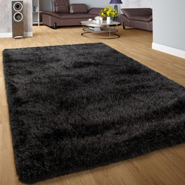 Moderner Wohnzimmer Shaggy Hochflor Teppich Soft Garn In Uni Anthrazit