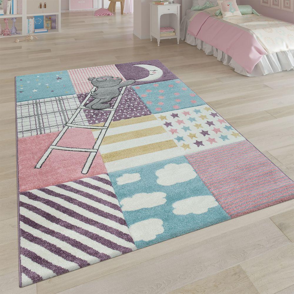Teppich Kinderzimmer 3-D Patchwork Bär Mond Sterne