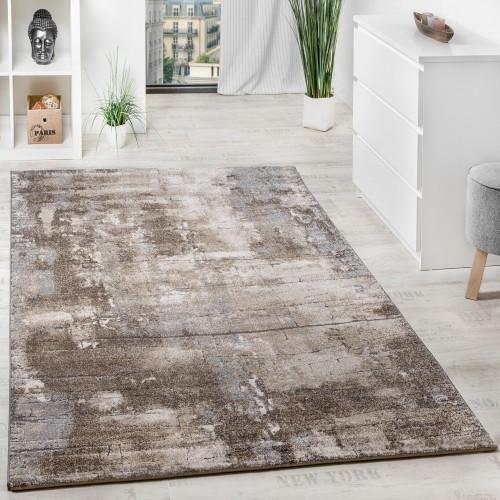 Edler Designer Teppich Hochtief-Effekt Steinmauer Optik Beige Grau Meliert
