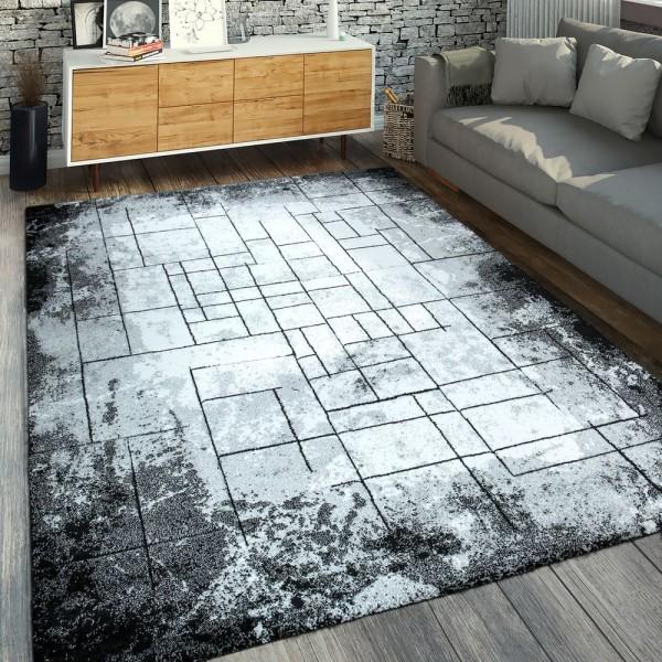 Moderner Kurzflorteppich Abstraktes Muster Schwarz Grau