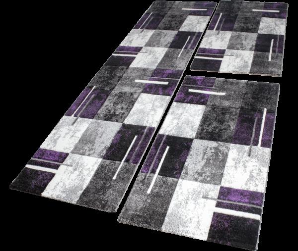 Läuferset Teppich Lila Marmor Optik