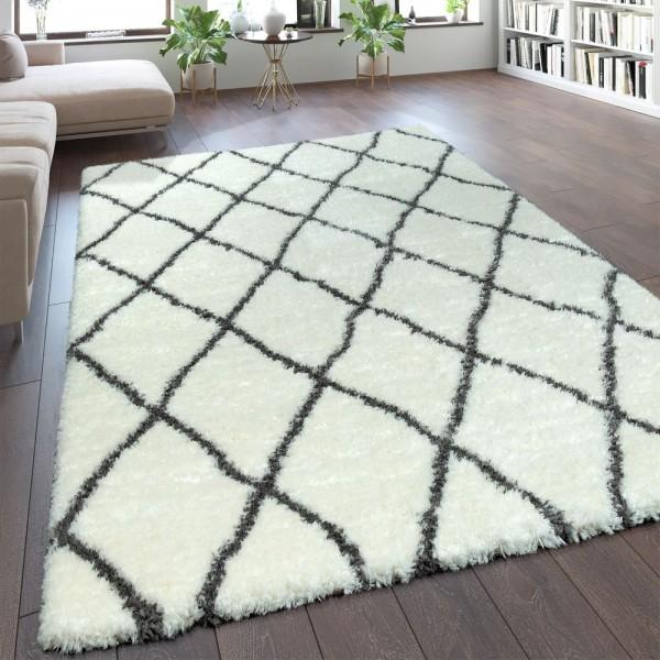 Teppich Wohnzimmer Creme Weiß Weich Groß Shaggy Flokati Rauten Muster Hochflor