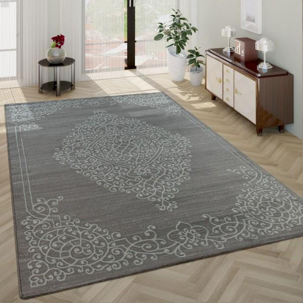 Moderner Kurzflor Wohnzimmer Teppich Orientalisches Muster Bordüre In Grau Weiß