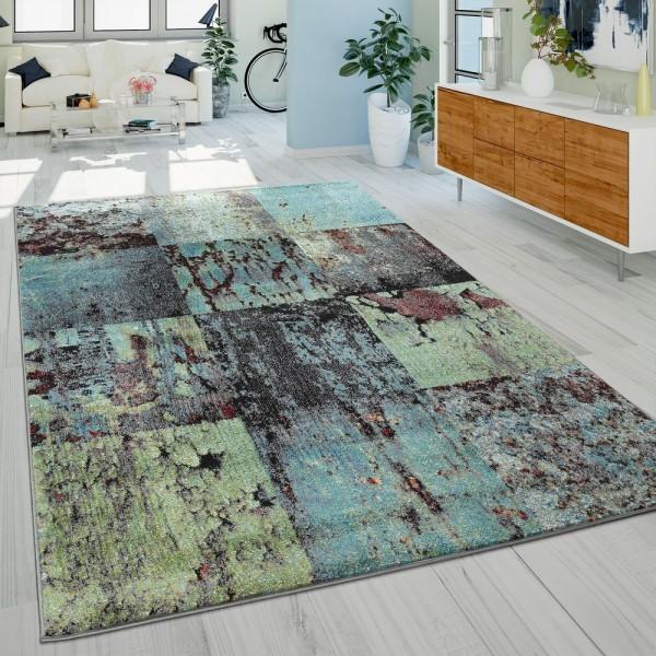 Teppich Modern Wohnzimmer Abstrakt Rost Optik Grün