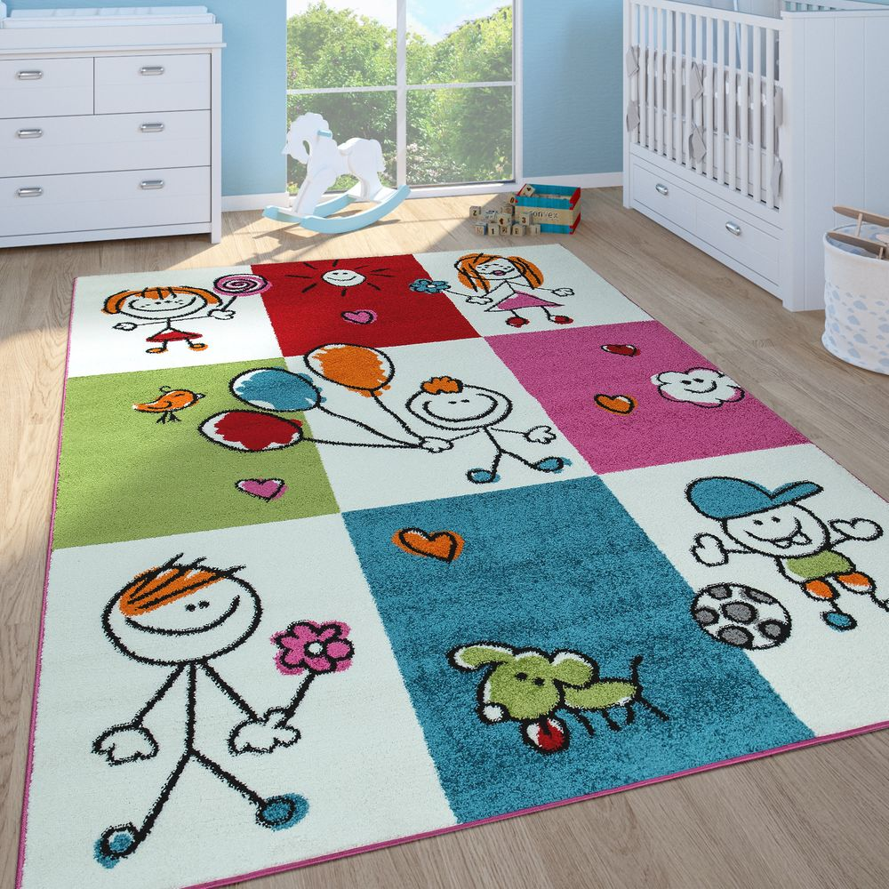 Teppich Kinderzimmer Motiv Figuren Kurzflor