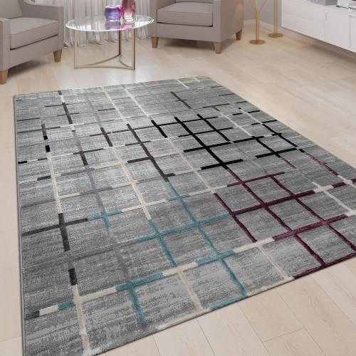 Kurzflor Teppich Grau Bunte Akzente Weich Wohnzimmer Karo Muster 3-D Design
