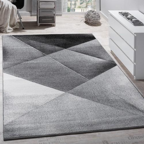 Designer Teppich Modern Geometrische Muster Kurzflor Grau Schwarz Weiß Meliert