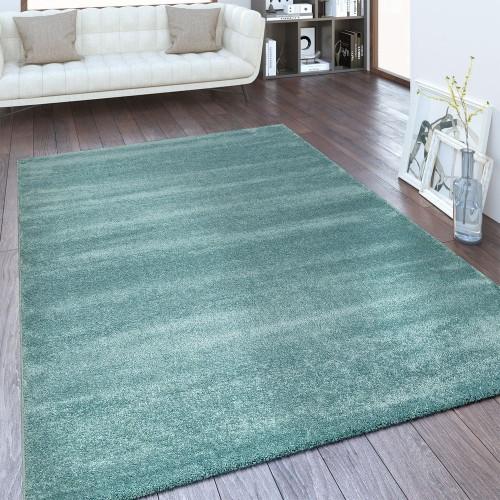 Moderner Kurzflor Teppich Einfarbig Blau