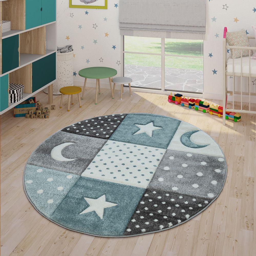 Kinderteppich Pastell Karos Punkte Herzen Sterne Blau