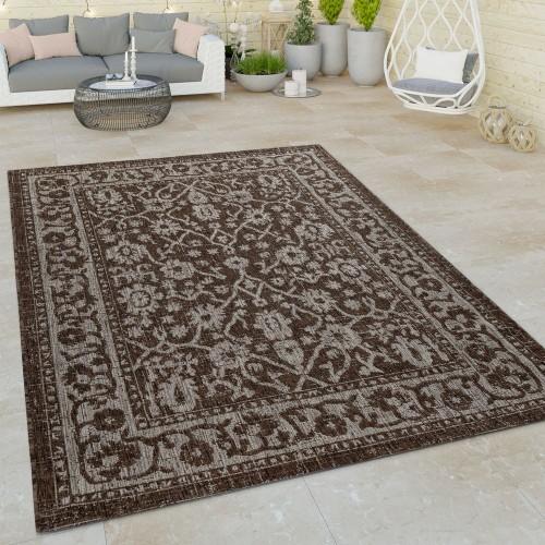 In- & Outdoor Flachgewebe Teppich Modern Bordüre Orient Design Ornamente Braun