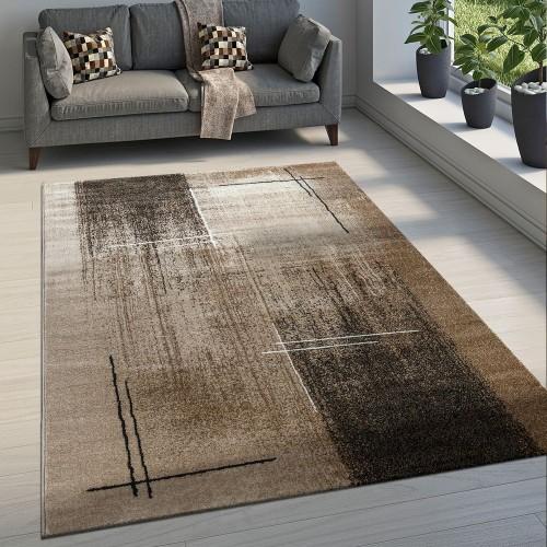 Edler Designer Wohnzimmer Teppich Kurzflor Farbverlauf Abstraktes Muster Braun