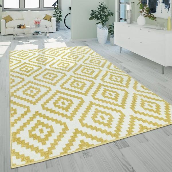 Kurzflor Wohnzimmer Teppich Modern Geometrisches Ethno Muster Gelb Weiß