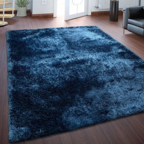 Hochflorteppich Super Soft Königsblau Handgemacht