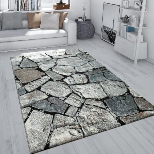 Teppich Wohnzimmer Stein Motiv Fels Muster 3-D