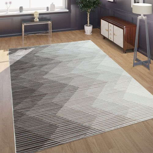 Designer Wohnzimmer Teppich 3D Optik Zick Zack Optik In Grau Creme Beige