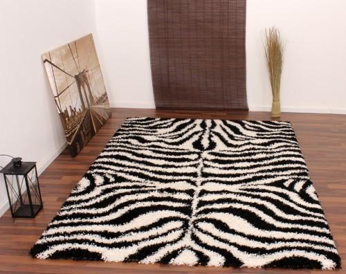 Teppich Hochflor Shaggy Muster Zebra Schwarz Weiss