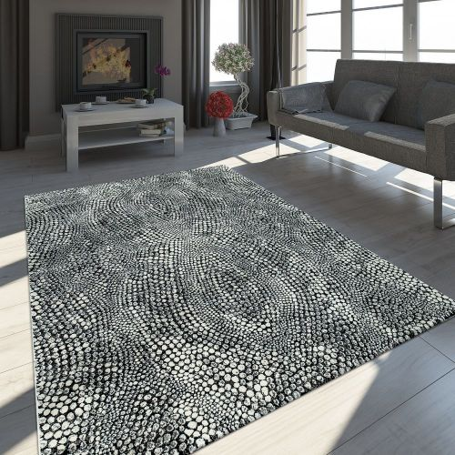 Orient Teppich Modern 3-D-Effekt Meliert Schimmernd Stein Optik Schwarz Grau