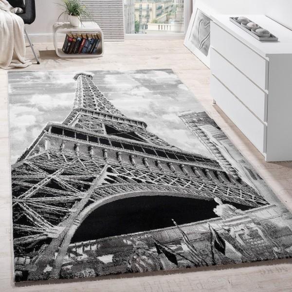 Designer Teppich Paris Eiffelturm Motiv Modern Teppich Wahrzeichen Grau Meliert