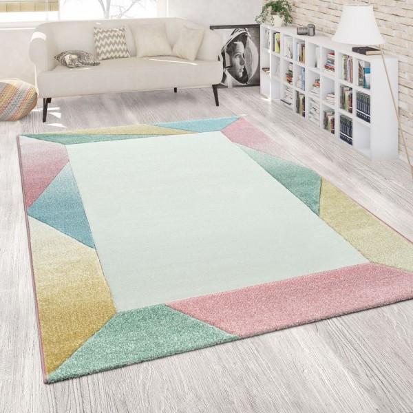 Teppich Wohnzimmer Modern Weiß Rosa Bunt Pastell Kurzflor Geometrisches Muster