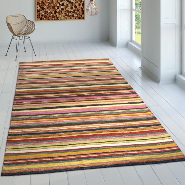 Gestreifter Flachgewebe Wollteppich Multicolor
