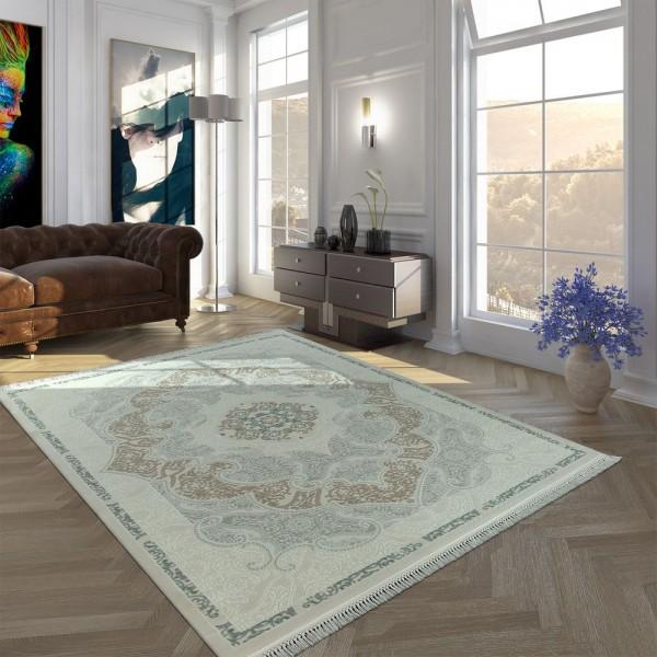 Polyacryl Teppich Kurzflor Hochwertig Klassisch Orient Optik Fransen Creme Blau