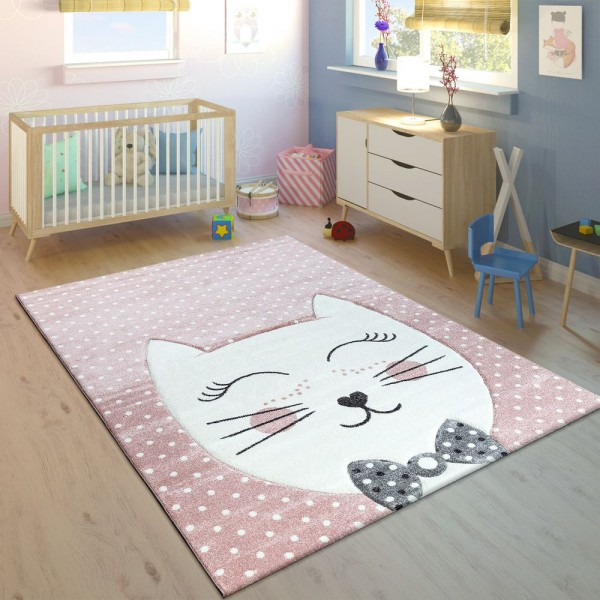 Kinderteppich Kinderzimmer Konturenschnitt Gepunktet Grinsekatze Pastell Rosa